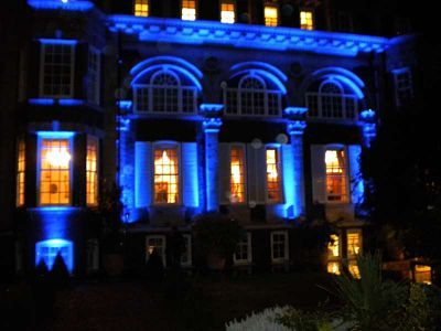 #Uplighting On The Exterior Of A Building. Lovely For A Grand Entrance To  Your #reception! #weddingideas #RentMyWedding