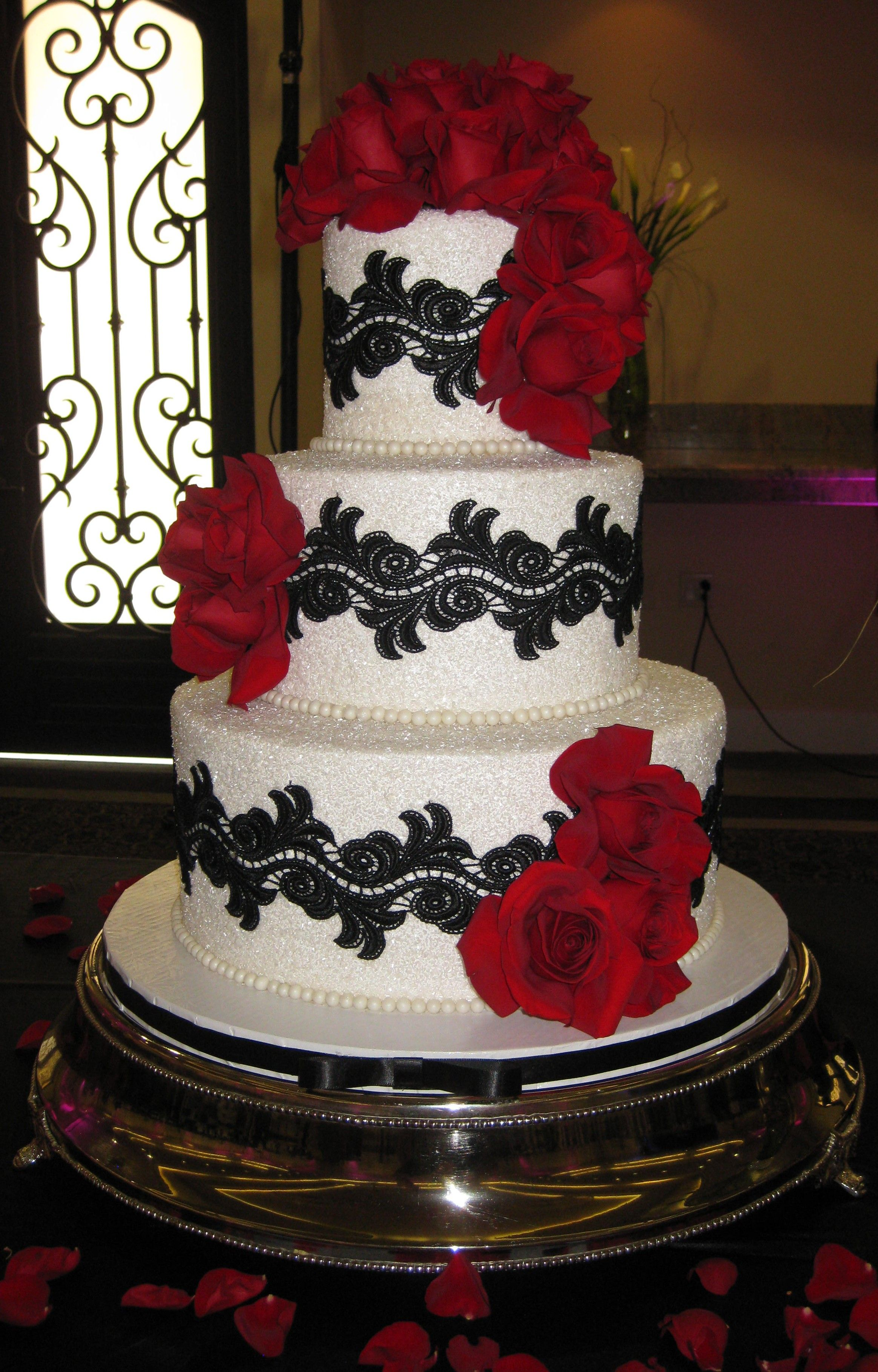 Red and black wedding decor  Black white and red wedding Cake  I DO   Pinterest  Red wedding