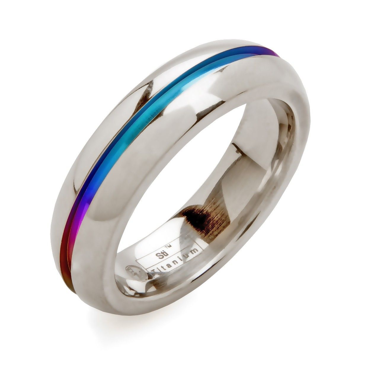 rounded titanium ring with rainbow cutout - Rainbow Wedding Rings