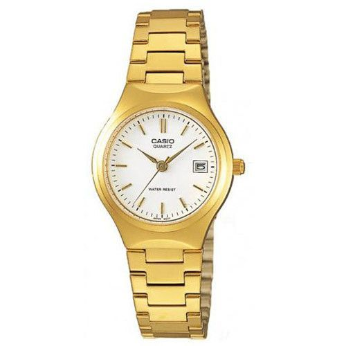 Casio Women's Classic Quartz Gold tone Band White Dial