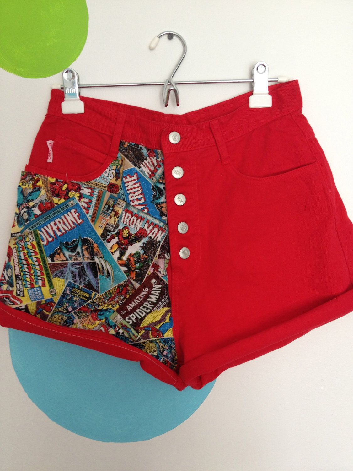 Red High Waisted Jean Shorts with Comic Book Fabric | Tessuti ...