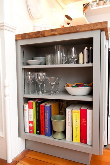 Cookbooks Shelf At End Of Counter Kitchen Bookshelf Kitchen Remodel Kitchen Remodel Small