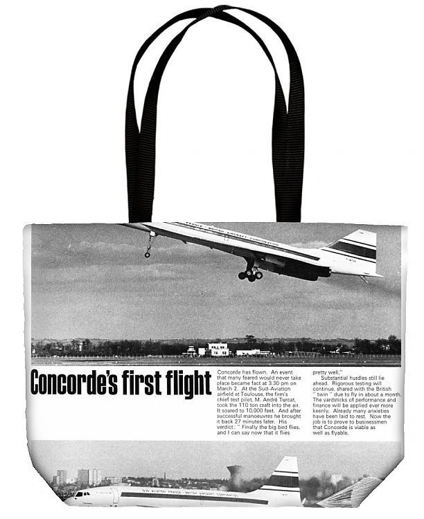Canvas Tote Bag. Front page (not cover) of the Illustrated London News showing the first flight of the supersonic air liner Concorde at the Sud-Aviation airfield at Toulouse. The chief test pilot was M. Andre Turcat who took the 110 ton craft into the air and soared to 10000 feet. Date: 1969. airfield, toulouse, concorde, sud. Image supplied by Mary Evans Prints Online