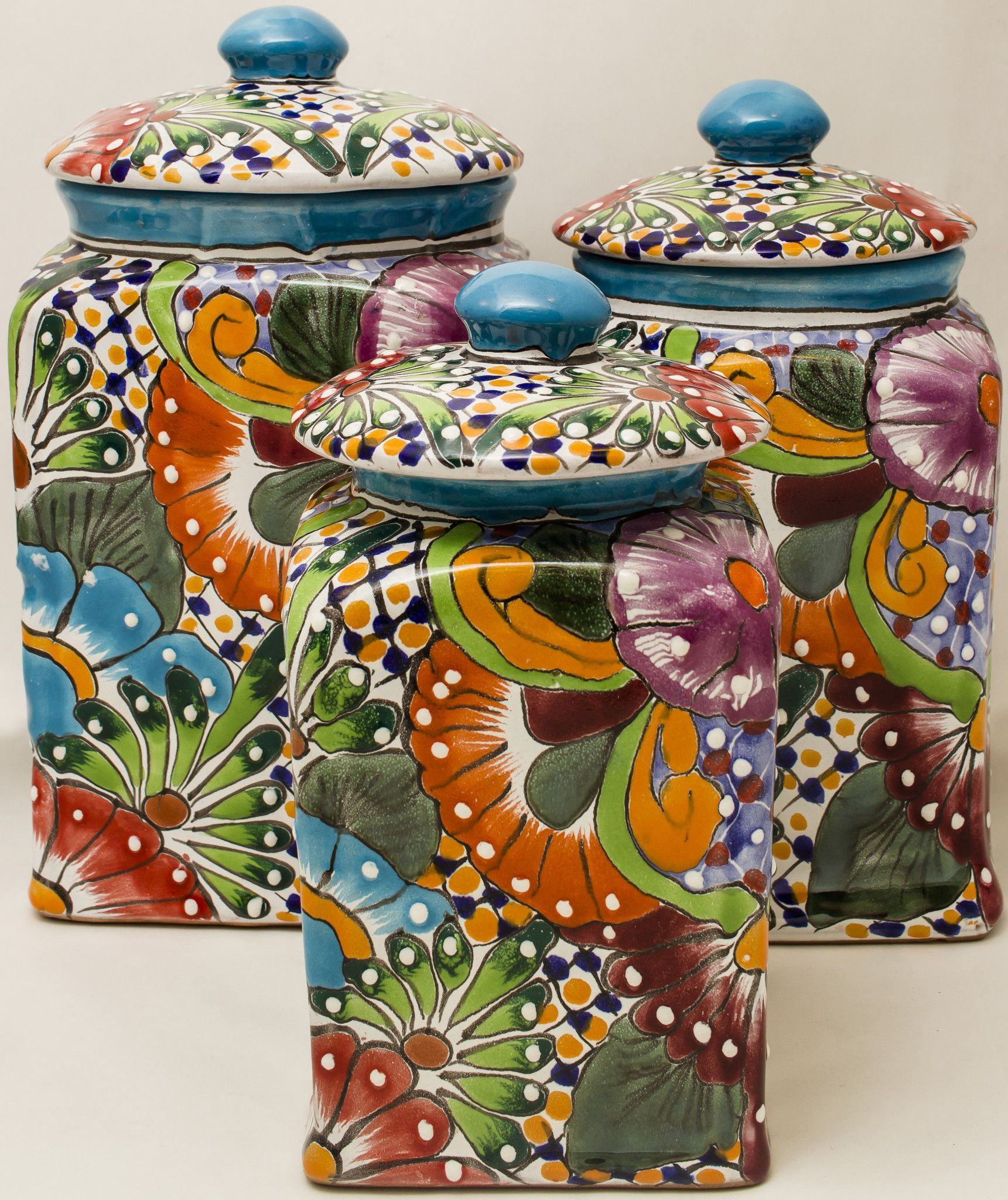 Talavera Pottery Canister Hand Painted Cookie Jar Set Of 3 Tcs001