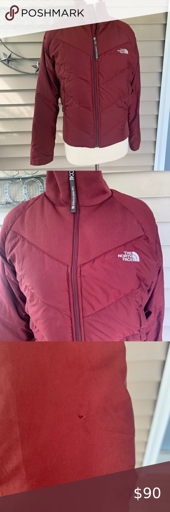 North Face Ski Puffer Jacket Great Used Condition Maroon In Color Minor Wear Marks One Tee Womens Puffer Vest Winter Jacket North Face Pink North Face Jacket [ 1740 x 580 Pixel ]