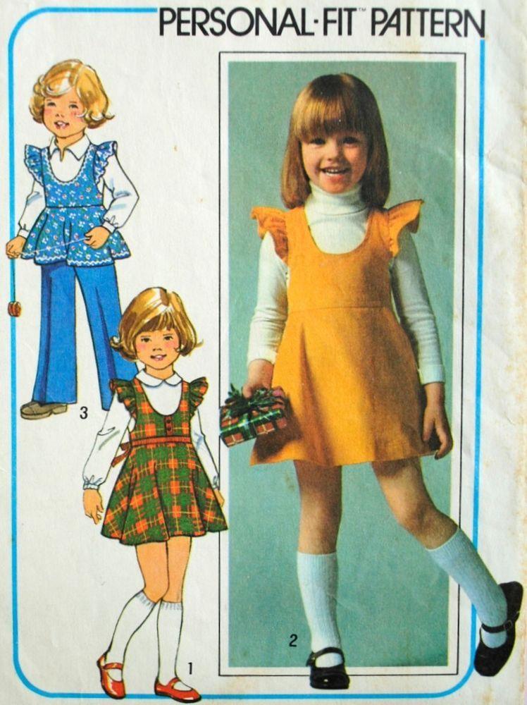 Vintage 1970s Simplicity 7632 Sewing Pattern Girls Jumper Dress Top ...