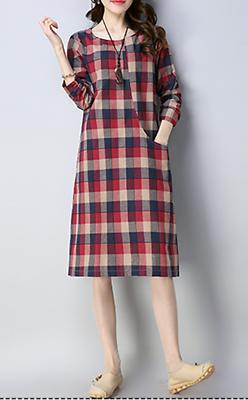 Women dress loose fit checkered pocket tunic Bohemian Boho long sleeve casual