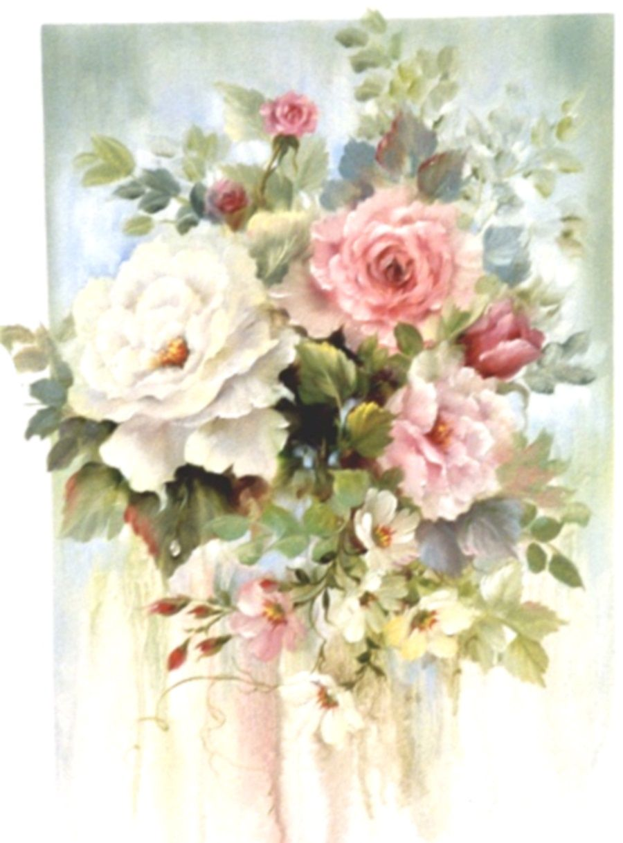 Vintage Art Flowers Flower Art Flower Painting Rose Painting