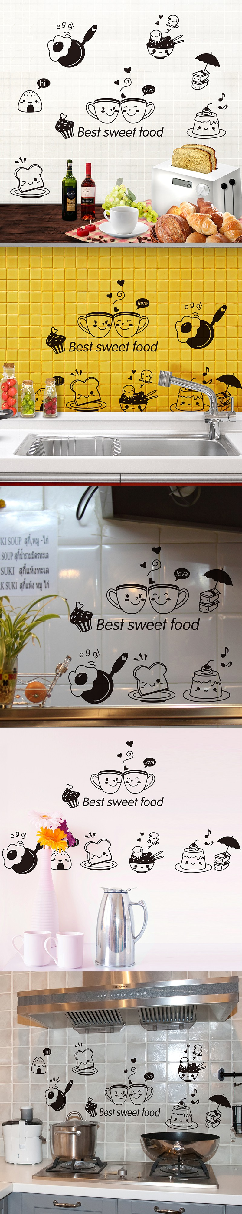 Removable Happy Western Food Wall Stickers Creative Diy Home Decor Decals For Dining Room Water Channel