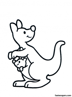 Free Printable Animal Kangaroo With Baby Coloring Pages For Kids