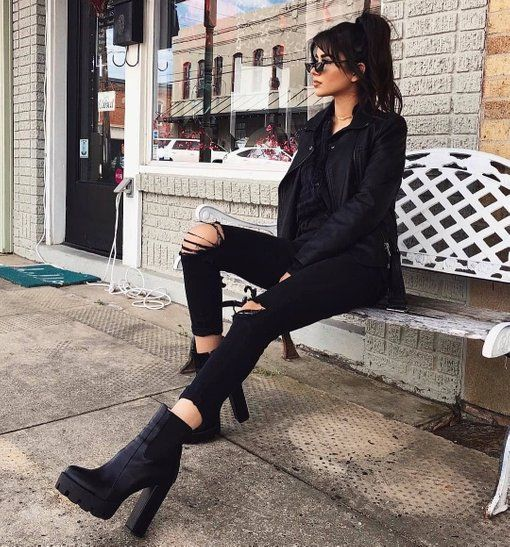 c28dd589a1f Atlas Platform Biker Boot In Black Faux Leather in 2019 | And A ...