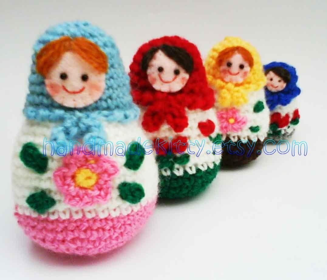 Amigurumi Russian Dolls : Russian Matryoshka amigurumi babushka Dolls Crochet ...