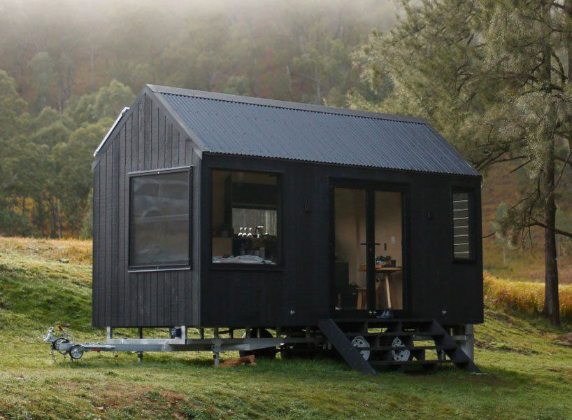 All Black Tiny Home Is Powered By Solar Panels Tiny House Exterior Off Grid Cabin Tiny House