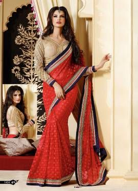 Red Georgette Saree.