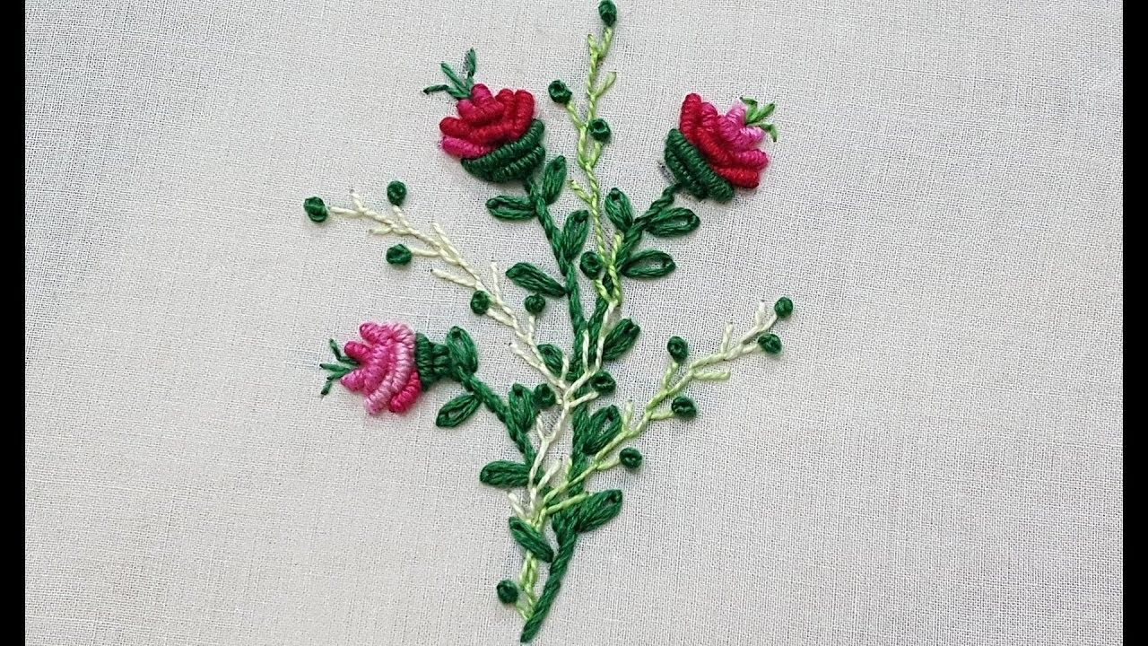 Bullion knot flower with lazy daisy stitch hand embroidery bead ...