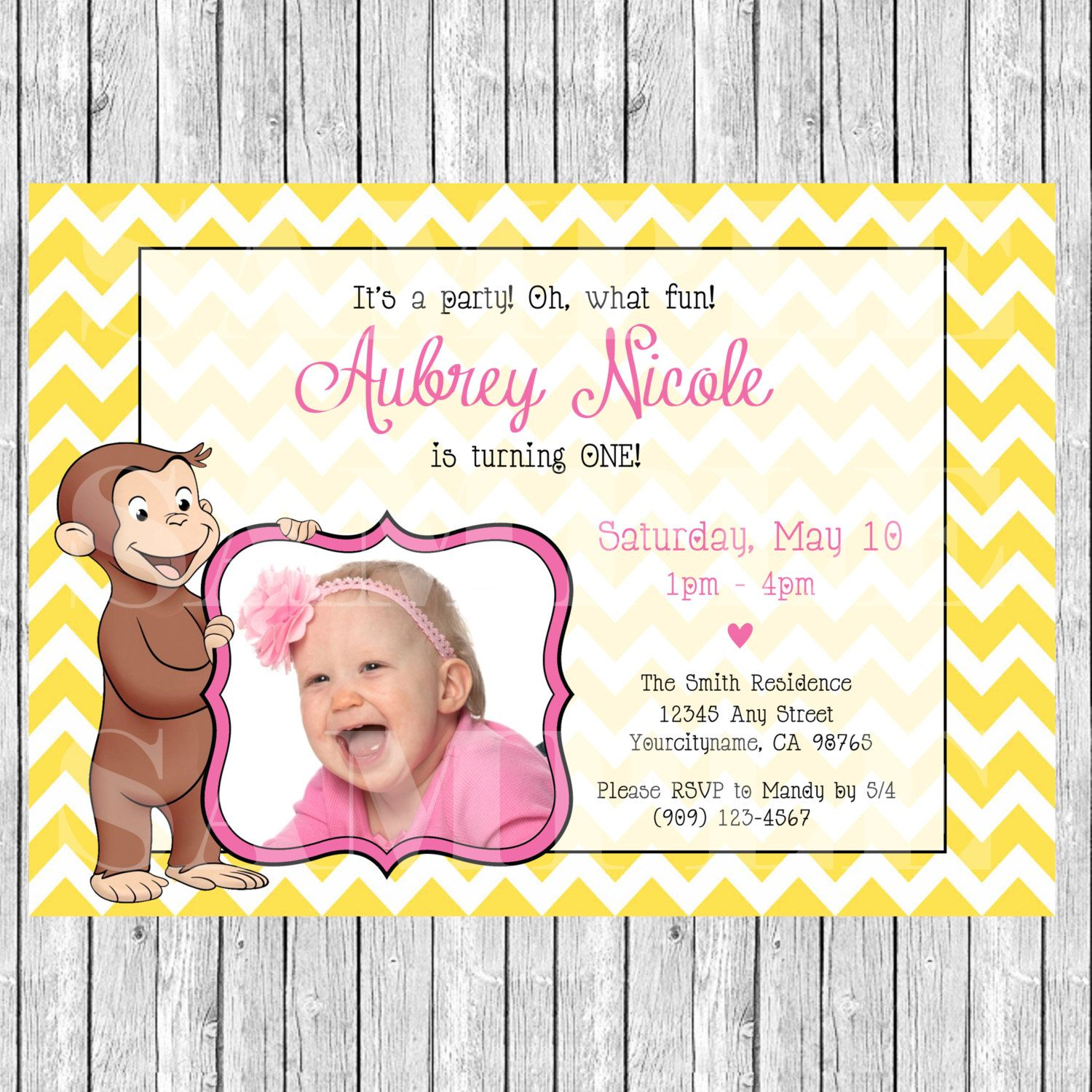 Curious George Birthday Invitation for GIRLS by ThisWiddlePiggy