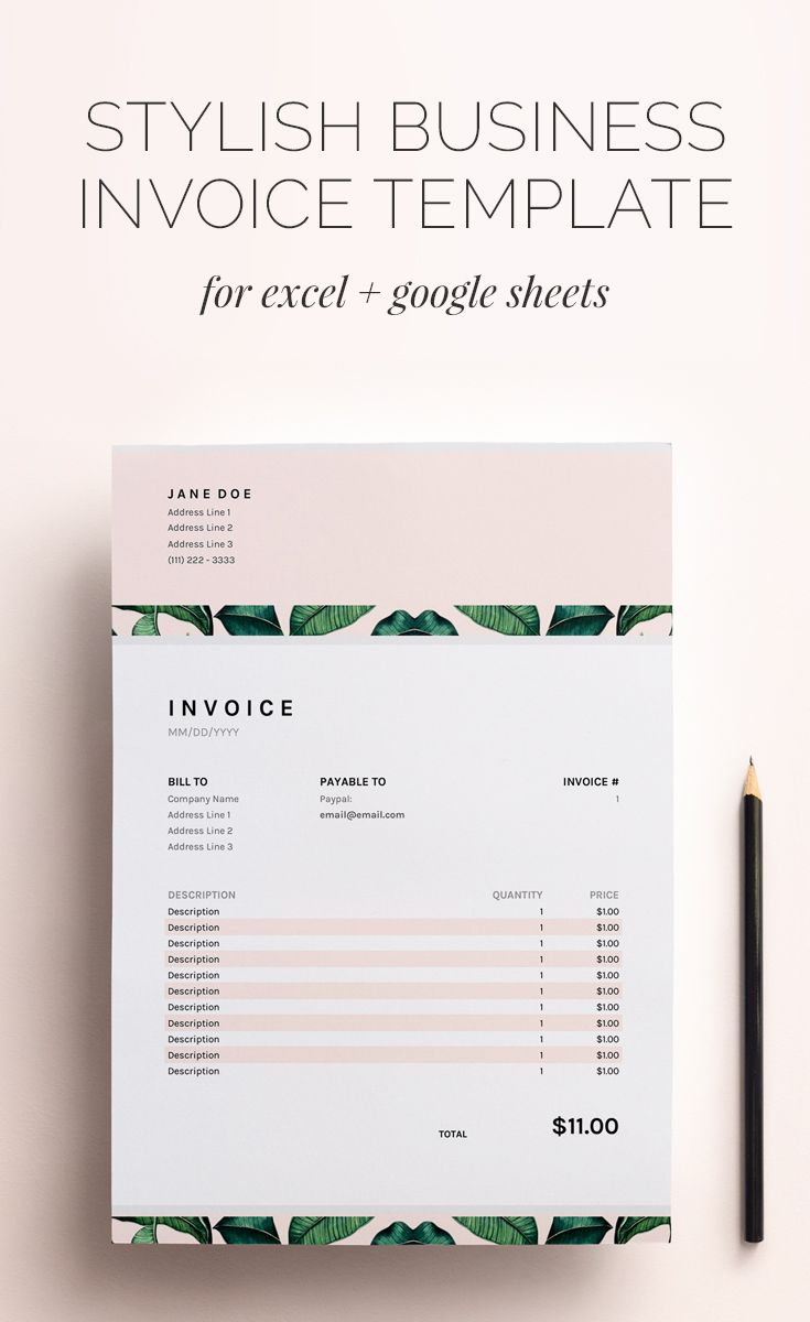 Invoice Template Business Invoice Spreadsheet Google Sheets Etsy In 2020 Invoice Design Invoice Template Business Template