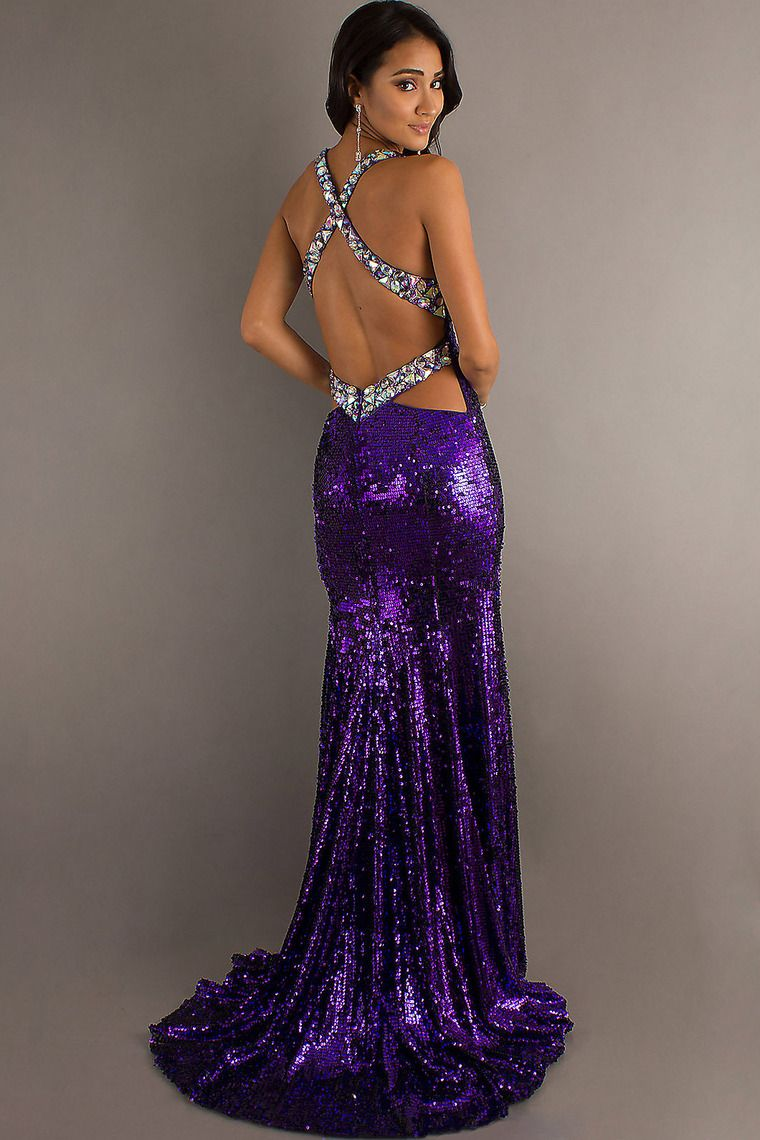 sexy straps sheath column sweep train prom dress open back with
