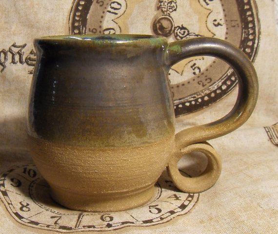 Curly Cue Handle Hobbit Chic Handmade Unique Ceramic Coffee Cup Mug