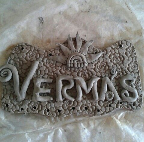 Simple Nameplate For House Entrance | Clay Nameplate | Pinterest
