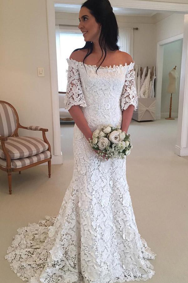 Sheath Brush Train Off Shoulder Half Sleeve Lace Wedding Dress Beach Wedding Dress W241 Half Sleeve Wedding Dress Cheap Bridal Dresses Bridal Gowns Mermaid
