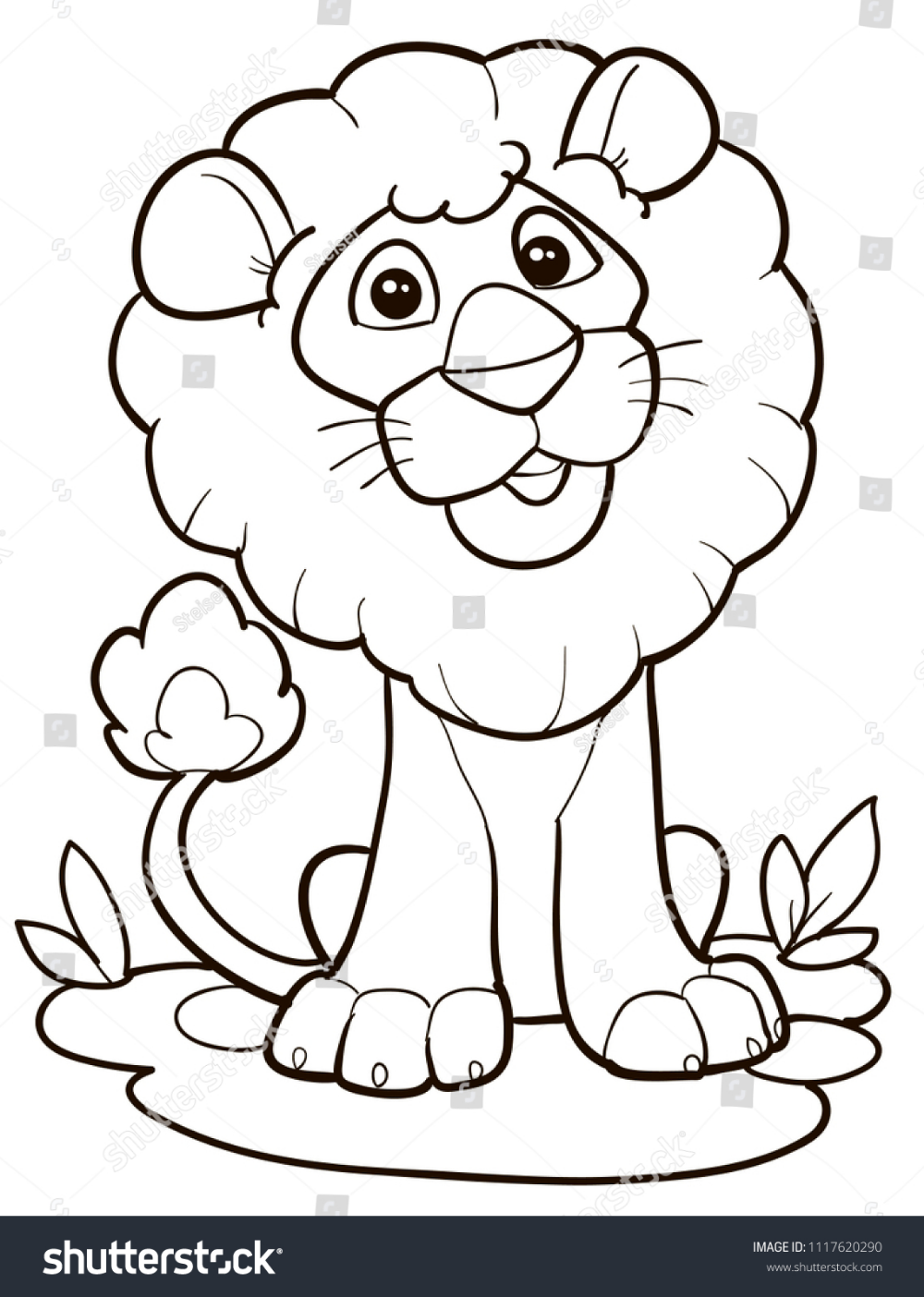 Coloring Page Outline Cartoon Cute Lion Stock Vector Royalty Free