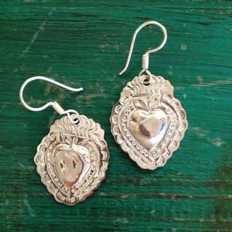 1261c4141 Mexican Nickel Silver Sacred Heart Earrings - Zinnia Folk Arts ...