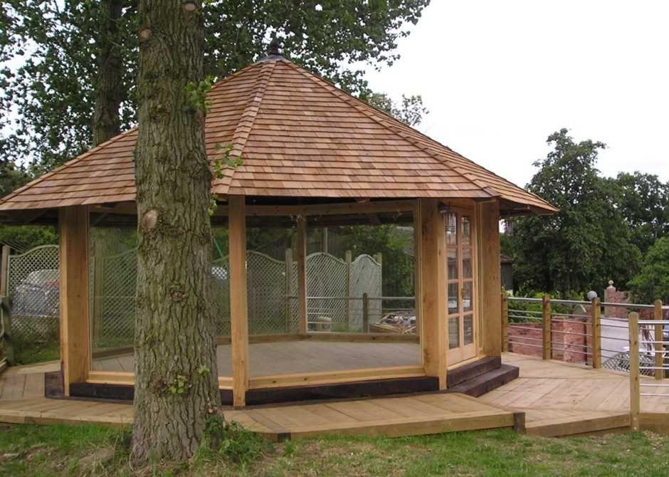 Railway sleepers Oak garden pavillion from new and used