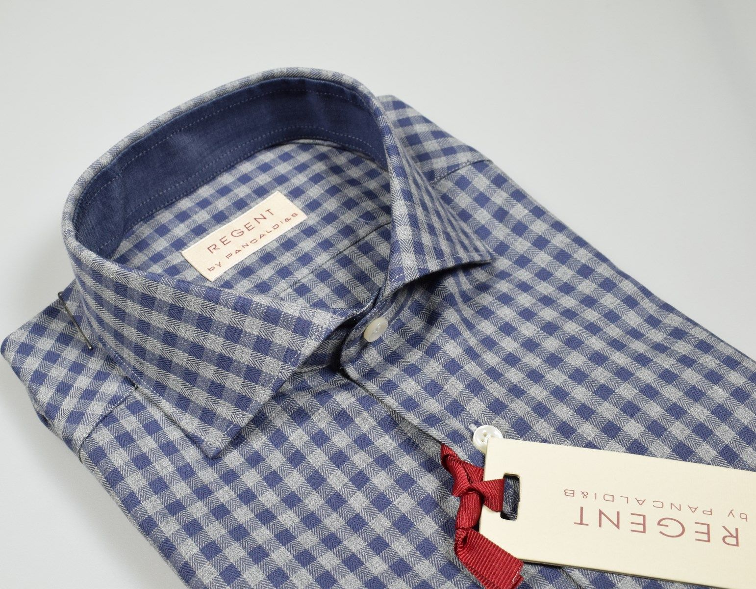 lowest price 87e06 74d16 Blue and grey pancaldi shirt slim fit shaved flannel ...