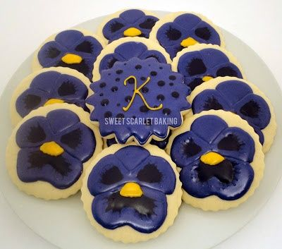 Pansy Cookies Iced Pansy decorated sugar cookies by