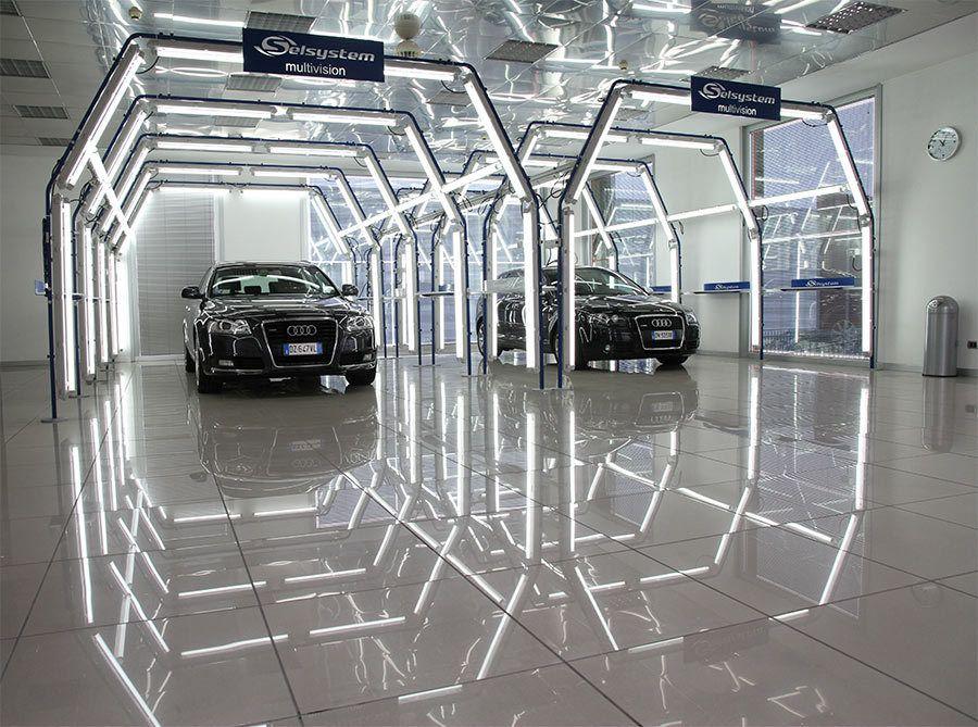 Pin By Aldrian Wibowo On Industrial Garage Design Garage Lighting Car Showroom Design