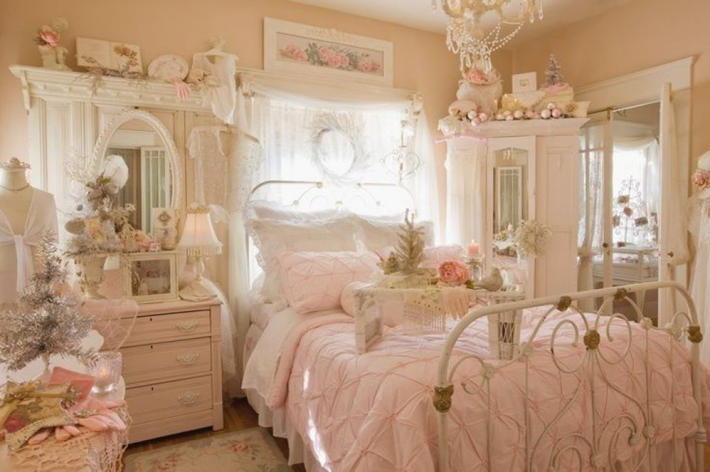 Sweet Shabby Chic Bedroom With Cream Wall Paint Featuring