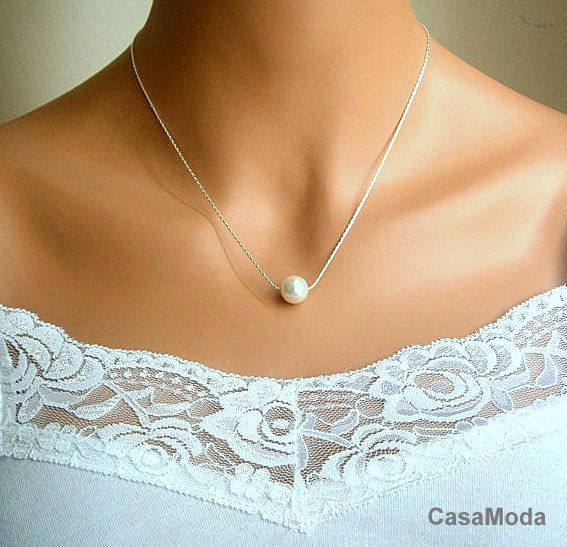 Floating Pearl Necklace In Silver Chain With 10mm White Swarovski Crystal Pearl 14 Inches Floating Pearl Necklace Bridal Pearl Necklace Bridesmaid Gifts Pearls
