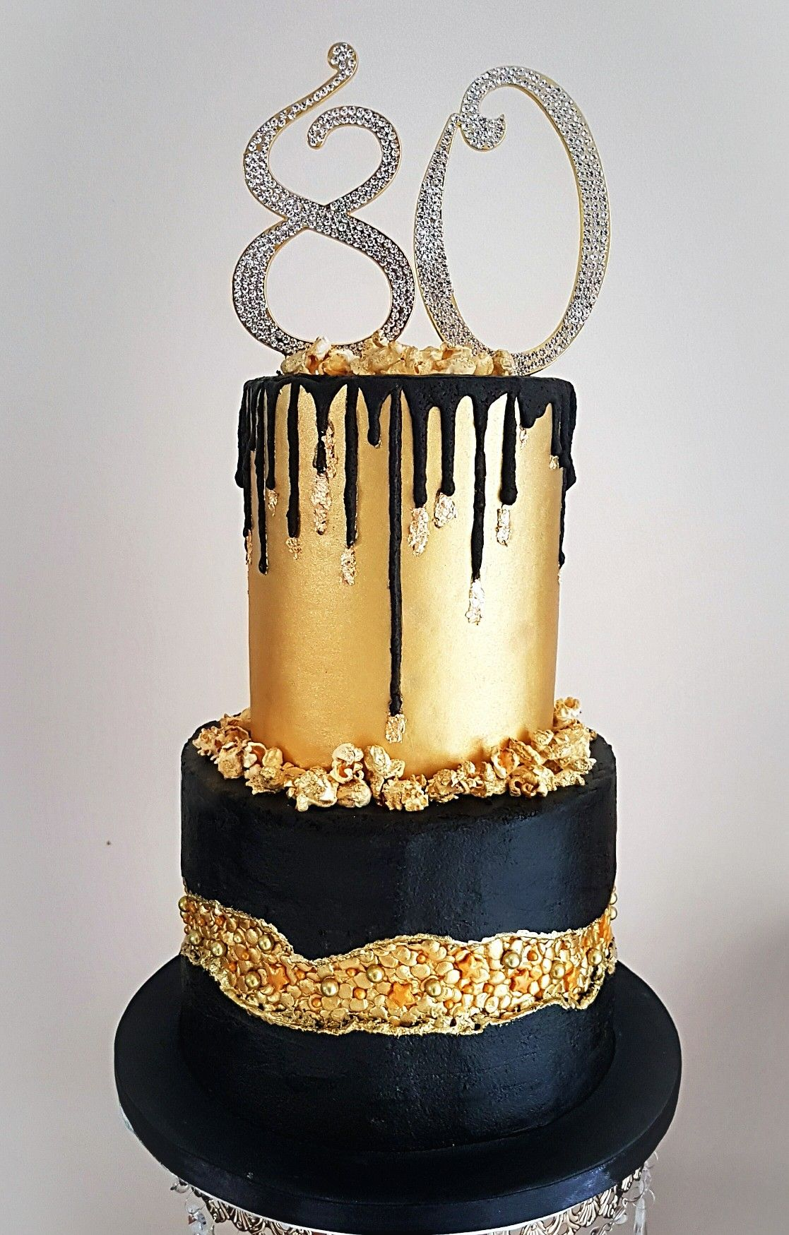 Black And Gold Fault Line And Drip Cake 80th Birthday Cake Black