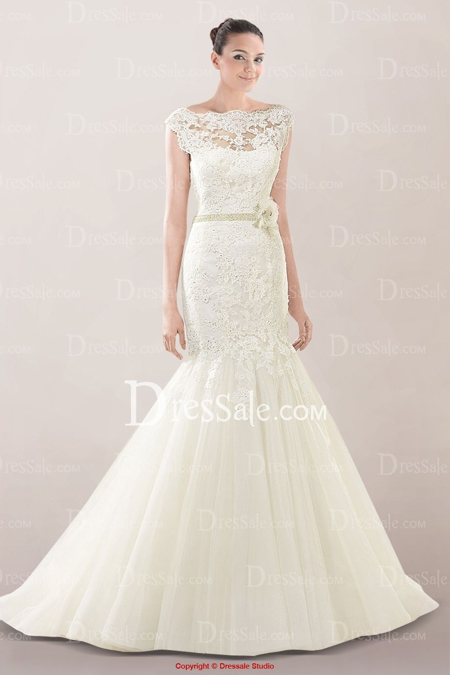 Illusion bateau neckline mermaid wedding dress featuring beautiful