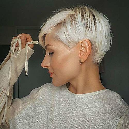 synthetic short pixie cut wig brown mix blonde lay