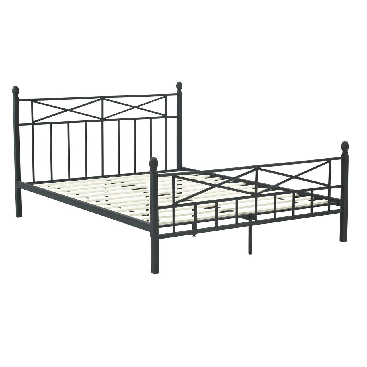 Queen Matte Black Metal Platform Bed Frame, Headboard Footboard ...