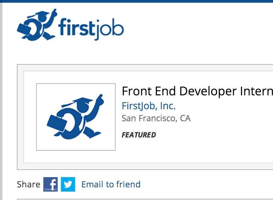 Job front end developer intern summer 2013 firstjob