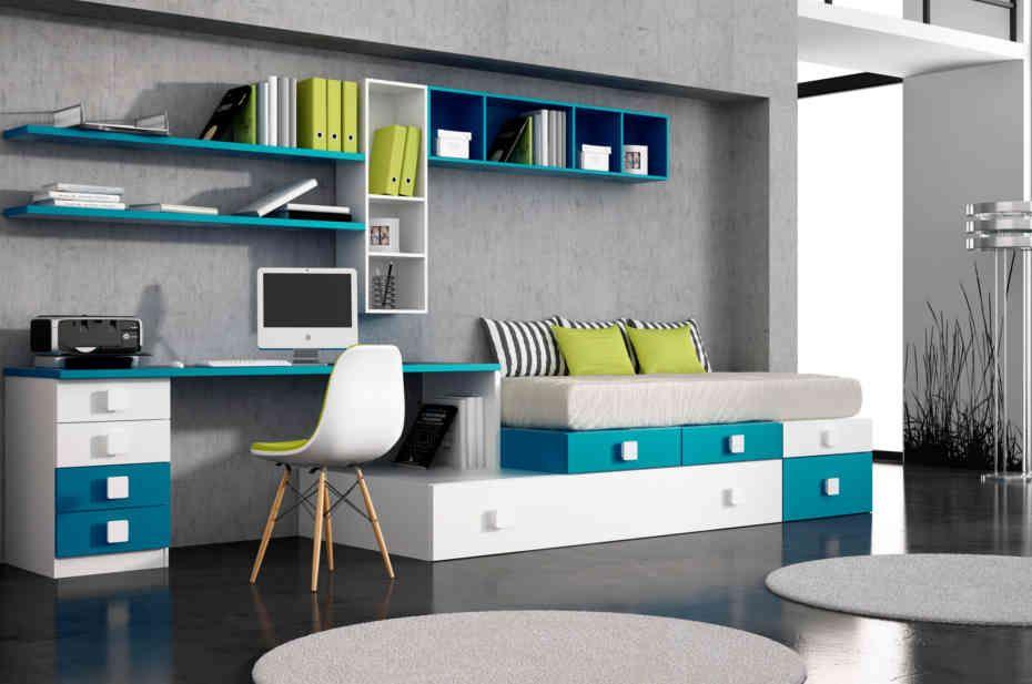 Conjunto de dos camas formado por m dulos de cajones for Estructura cama 90x190
