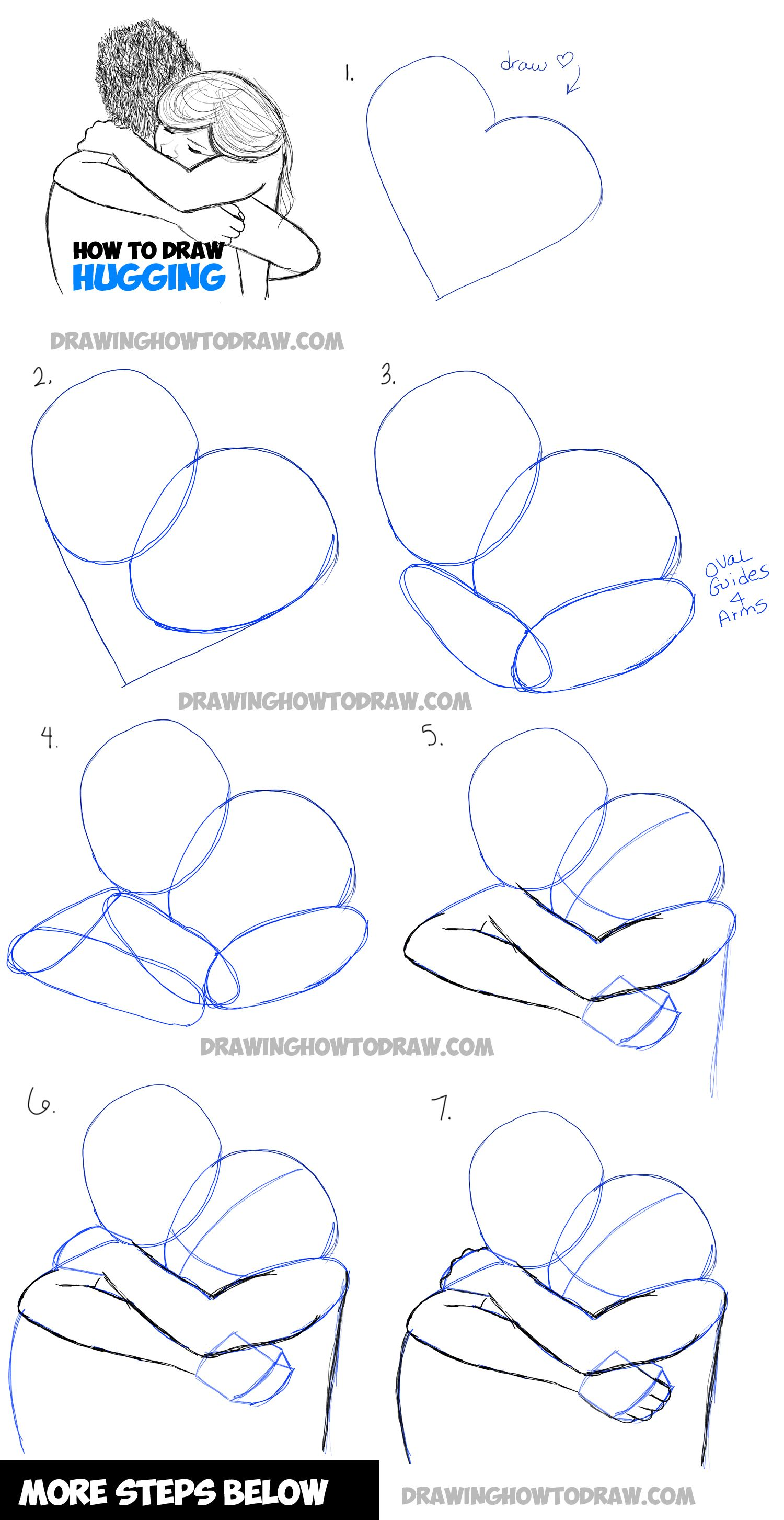 How To Draw Two People Hugging : Drawing Hugs Step By Step