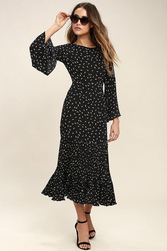 #AdoreWe #Lulus Womens - Designer I. Madeline I. Madeline Dashing Diva Black Print Midi Dress - AdoreWe.com