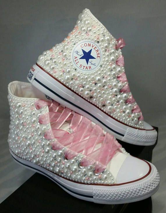 905c52ba5187 Wedding Converse- Bridal Sneakers- Bling   Pearls Custom Converse ...