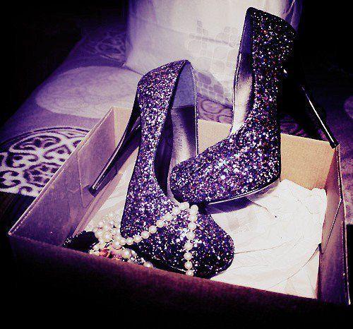 purple glitter shoes