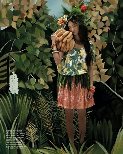 """The Terrier and Lobster: """"Welcome to the Jungle"""": Henri Rousseau Homage by An Jisup for Vogue Girl Korea"""