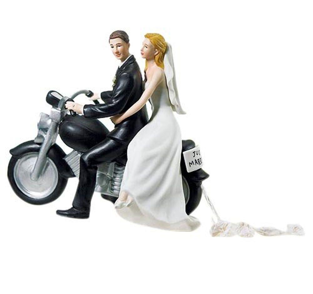 GET-AWAY Bride and Groom Couple Figurine Motorcycle Get Away WEDDING ...