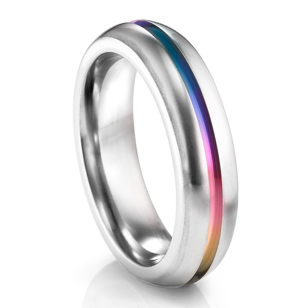 RAINBOW Ti Ring 6mm Rounded Profile Titanium ring Ring and Weddings