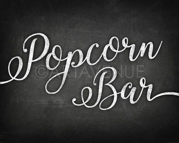 Chalkboard Chic Party Signs Popcorn Bar Snack Sign