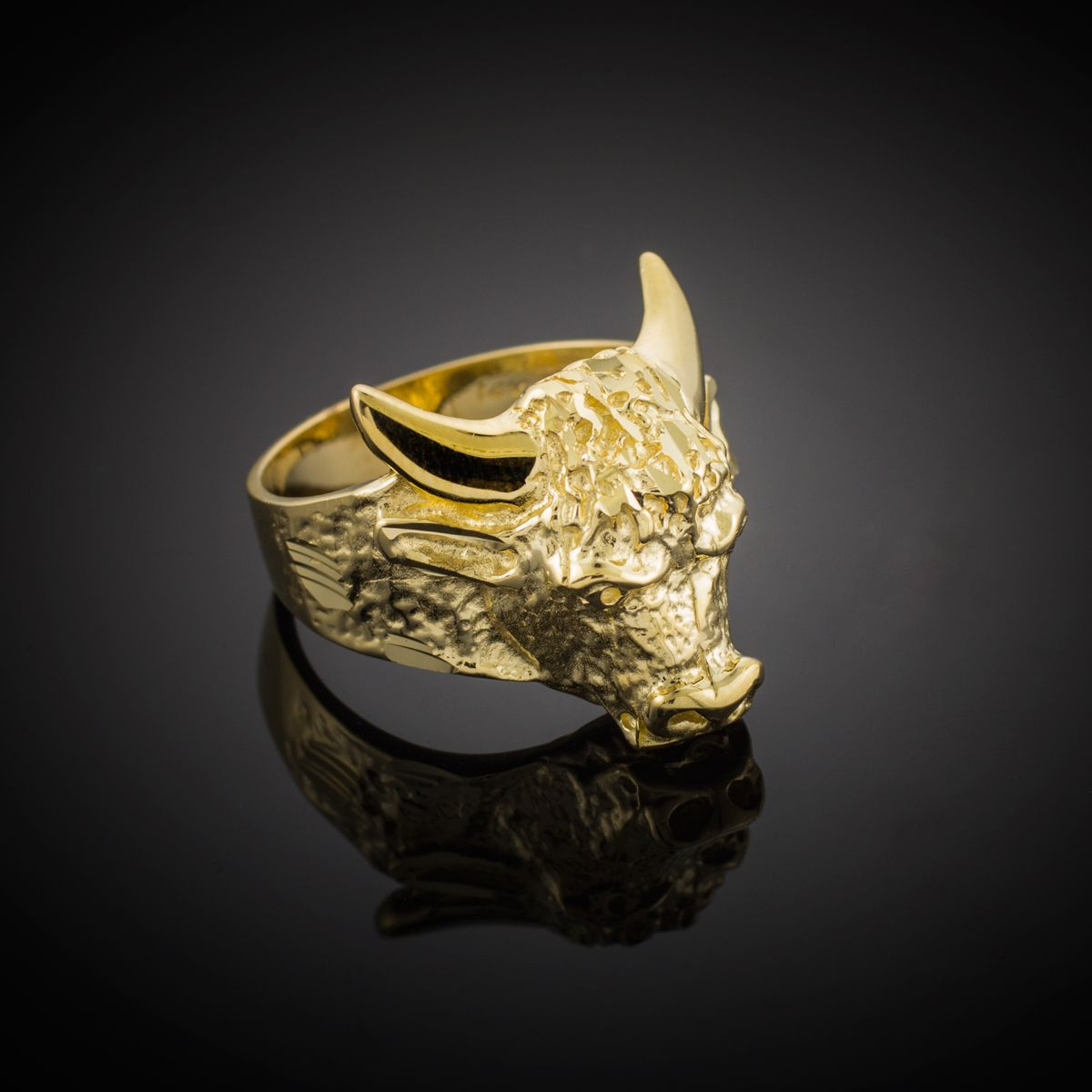 28af471741a2a Large Gold Bull Taurus Ring | Yellow Gold Rings in 2019 | Rings ...