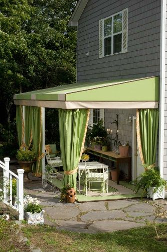 Green Stationary Awning Outdoor Rooms Outdoor Shade Patio Decor