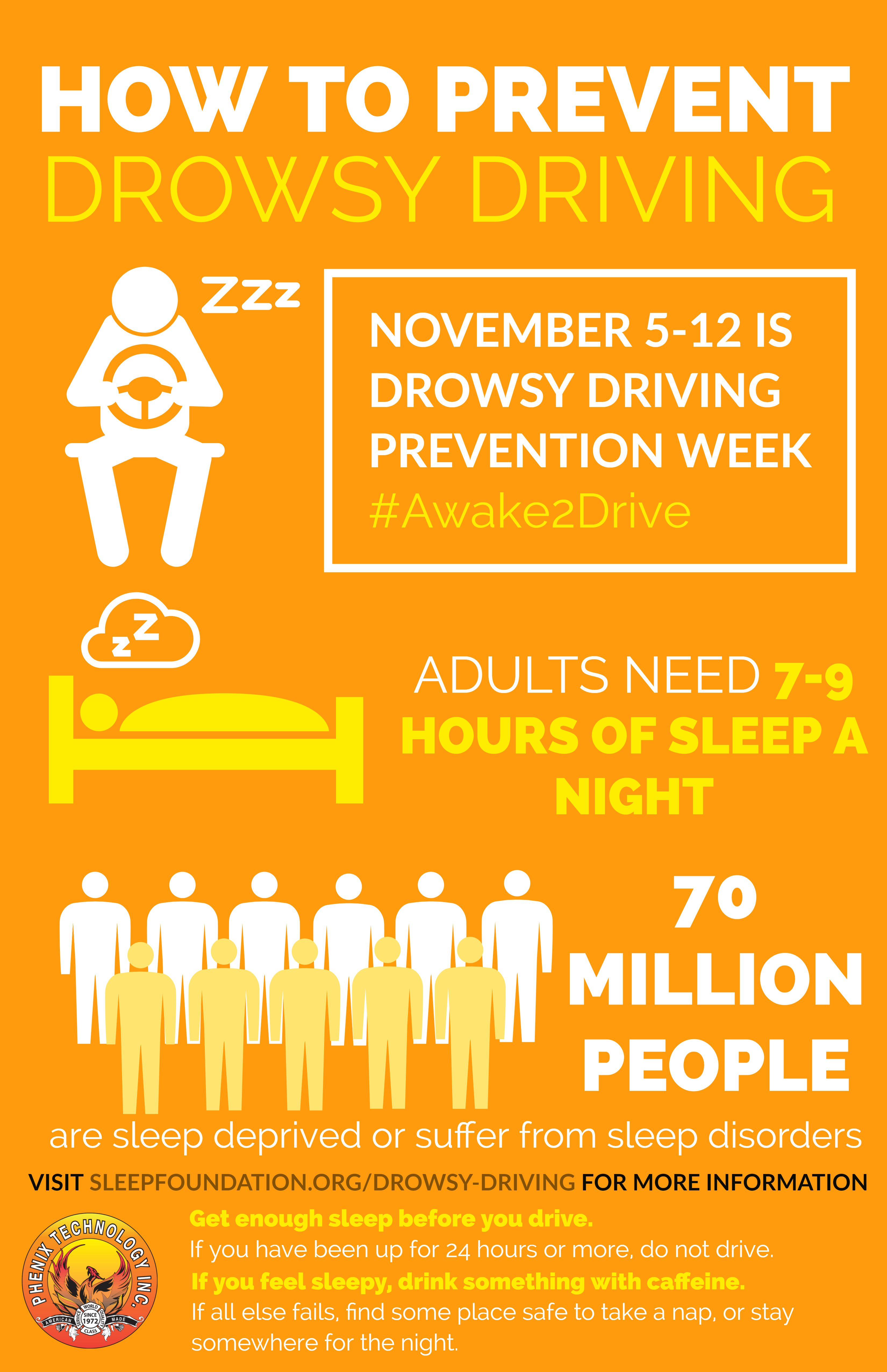 November 5 12 is Drowsy Prevention Week Awake2Drive